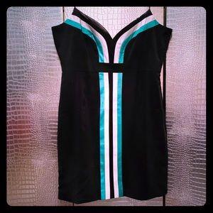 VENUS Black Green White Fitted Mini Dress 14